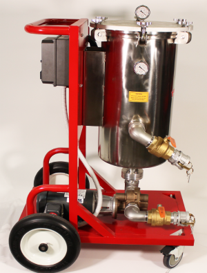 Electric-filtration-cart-10 to 50 GPM-at one micron