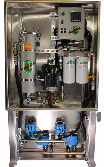 Two tank fuel polishing system with programmable controller and electric tank selection valves