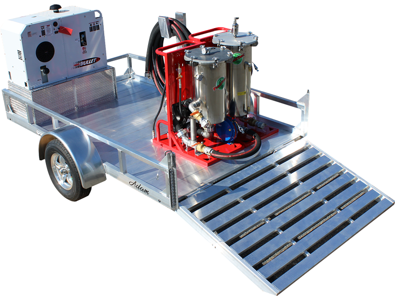Fuel-filtration-trailer with 75 GPM fuel polishing and tank cleaning skid